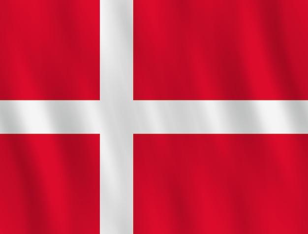 Bandiera della danimarca con effetto ondeggiante, proporzione ufficiale.