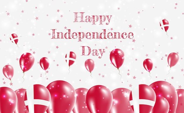 Design patriottico della festa dell'indipendenza della danimarca. palloncini nei colori nazionali danesi. cartolina d'auguri di felice giorno dell'indipendenza.
