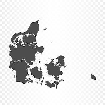 Mappa della danimarca isolata su trasparente