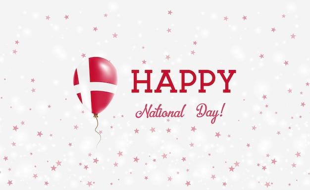 Manifesto patriottico della festa nazionale della danimarca. palloncino di gomma volante nei colori della bandiera danese. priorità bassa di festa nazionale della danimarca con palloncino, coriandoli, stelle, bokeh e scintillii.