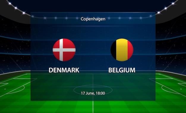 Tabellone segnapunti di calcio danimarca vs belgio.