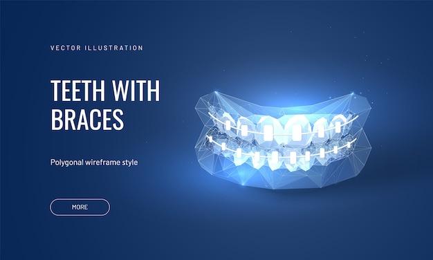 Illustrazione di parentesi graffe dentali in futuristico stile poligonale