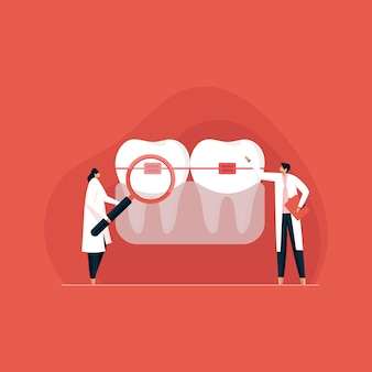 Apparecchio dentale per raddrizzare i denti concetto di trattamento ortodontico