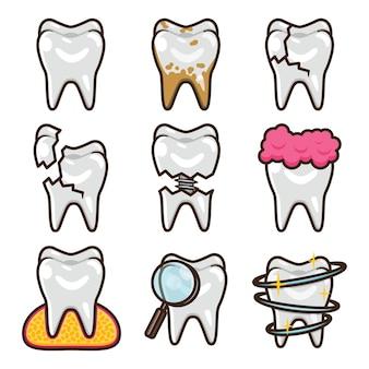 Insieme dell'icona di progettazione dell'illustrazione di vettore del pacchetto di cure odontoiatriche concept