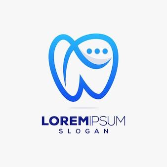 Cure odontoiatriche, consultazione chat, design del logo colorato