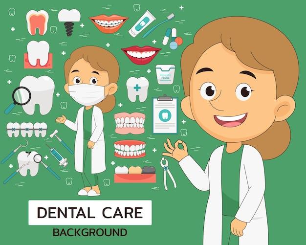 Fondo di concetto di cure odontoiatriche. icone piatte.