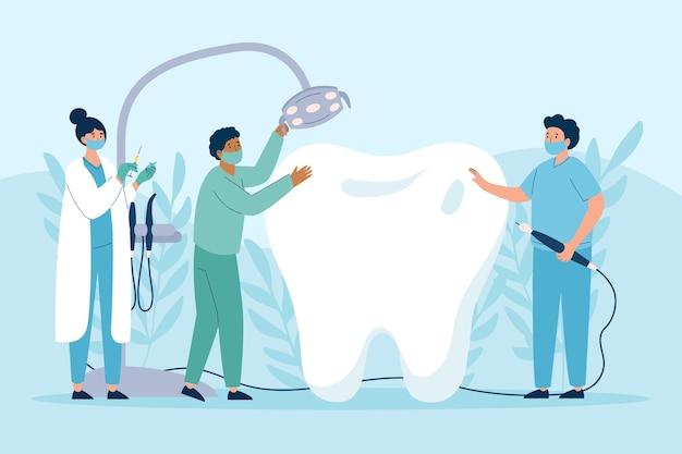 Concetto di cura dentale illustrato