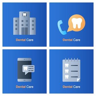 Concetto di cure odontoiatriche. prevenzione, controllo e trattamento dentale.