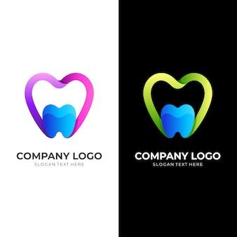 Logo per cure odontoiatriche, amore e dente, logo combinato con stile colorato 3d