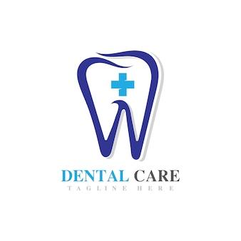 Immagine del design dell'icona di vettore del logo di cure odontoiatriche