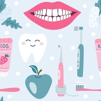 Cura dentale igiene orale gomma da masticare pasta sorriso bianconeve mela vector seamless pattern