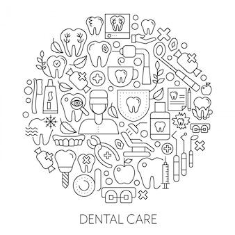Concetto di design web di cura dentale Vettore Premium