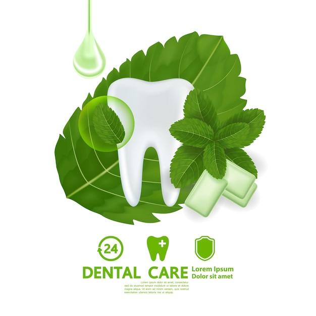 Cure odontoiatriche con illustrazione di foglia di menta piperita