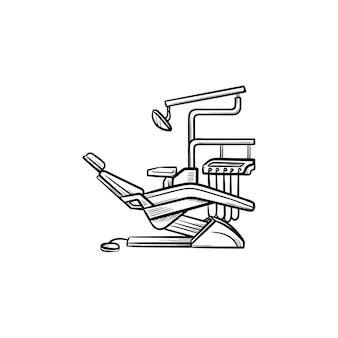 Icona di doodle di contorni disegnati a mano di poltrona odontoiatrica. odontoiatria, stomatologia, controllo dentale e concetto di trattamento