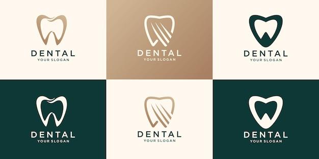 Dental clinic logo dente modello astratto disegno vettoriale. icona di concetto di logotipo di medico dentista.