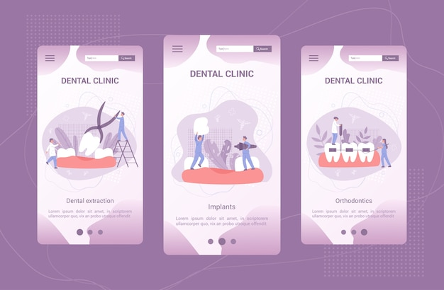 Set di banner per applicazioni mobili per clinica odontoiatrica. concetto di odontoiatria. idea di cure odontoiatriche e igiene orale. medicina e salute. stomatologia e trattamento dei denti.