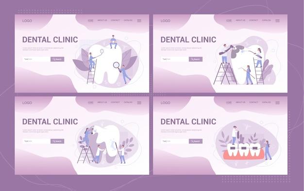 Banner web o pagina di destinazione della clinica odontoiatrica et. odontoiatria. idea di cure odontoiatriche e igiene orale. medicina e salute. stomatologia e trattamento dei denti.