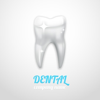Emblema dentale con dente lucido pulito