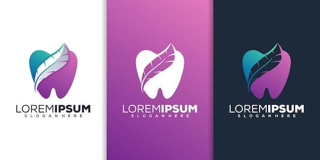 Design del logo dentale e piuma
