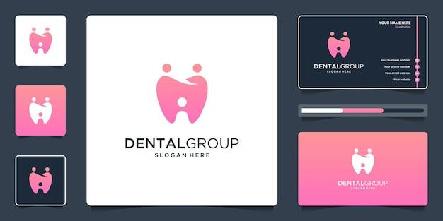 Logo del gruppo dentale con unità umana, design del logo della famiglia o del gruppo sociale di persone e biglietto da visita.