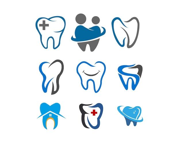Insieme di logo dell'illustrazione della medicina di sanità dentaria