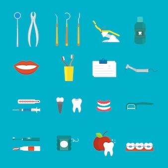 Stile piano di concetto medico di igiene dentale con il vettore sano delle icone di cura del dente di sezione trasversale.