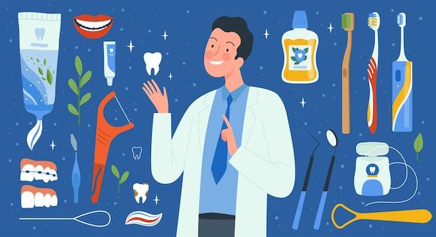 Strumenti per l'igiene dentale. accessori per dentisti liquidi medici per spazzole per collutorio che puliscono la raccolta di vettori di denti. illustrazione di stomatologia sanitaria, set di strumenti per ortodontista