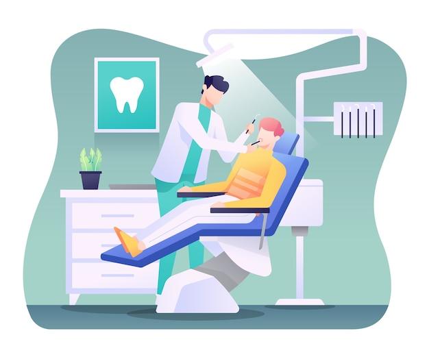 Illustrazione dentale, dentista che maneggia un paziente.