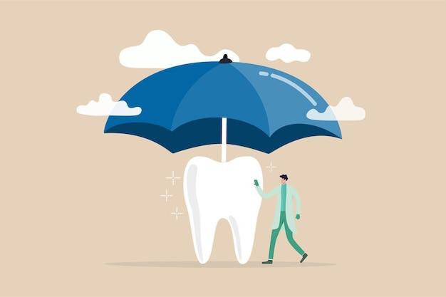Assicurazione dentale che copre i costi sanitari e medici, la protezione dei denti o il concetto di cure dentistiche, dentista in piedi con un dente forte e pulito con un grande ombrellone o protezione dalla tempesta sopra