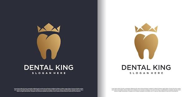 Logo del re dentale con concetto dorato vettore premium