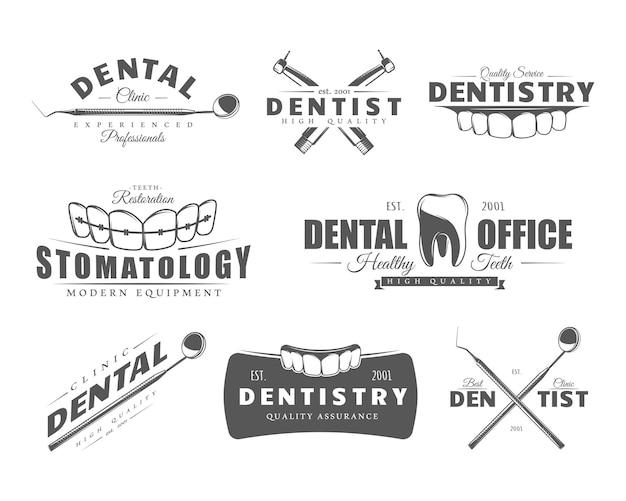 Etichetta dentale isolata su sfondo bianco