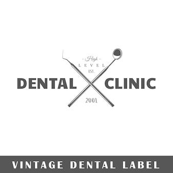 Etichetta dentale su sfondo bianco. elemento. modello per logo, segnaletica, branding. illustrazione