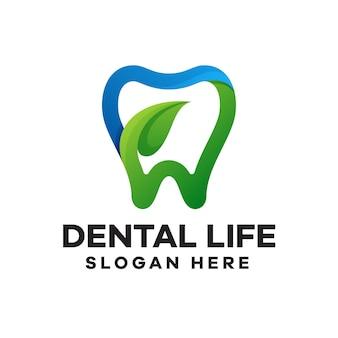 Design del logo del gradiente di vita dentale