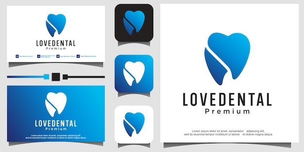 Modello di progettazione del logo dentale. icona dente astratto