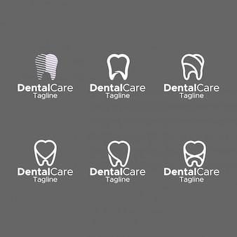 Dental logo simple monogram elegant flat design