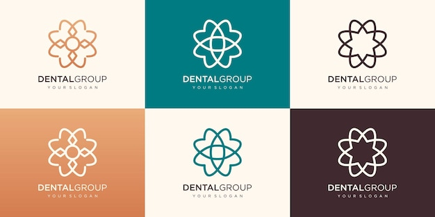 Logo dentale con forma circolare, logo denti premium, creativo e moderno.