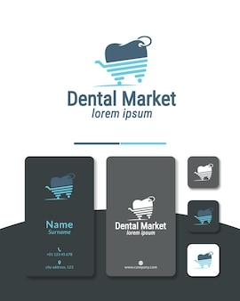 Farmacia del carrello del negozio di progettazione del logo del mercato dentale