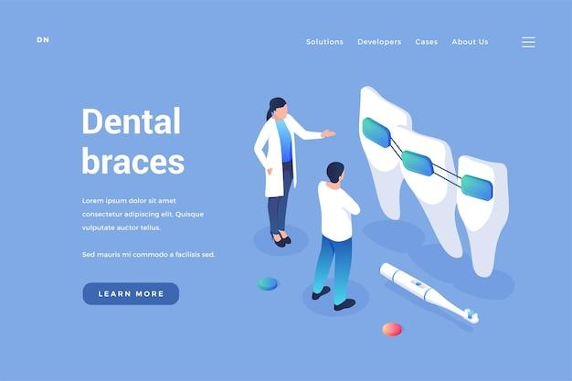 Apparecchi per ortodonzia dentale il dentista esamina la qualità dei copricapi e il miglioramento del morso