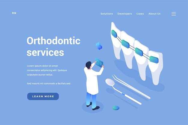 Servizio di ortodonzia dentale il dentista esamina la qualità degli apparecchi e il miglioramento del morso