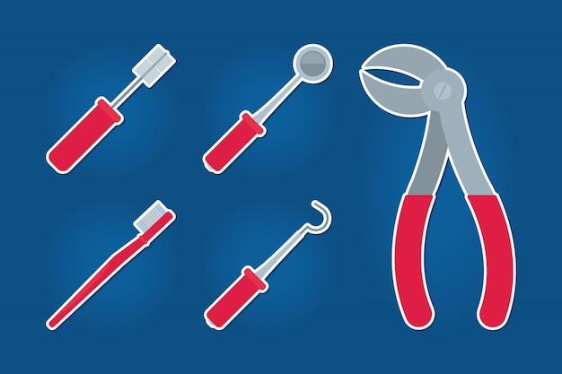 Set di icone di strumenti dentali