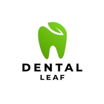 Dentale con concetto di design del logo eco foglia