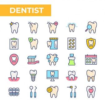 Insieme dell'icona del dentista, stile di colore riempito Vettore Premium