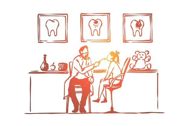 Visita dal dentista, bambina seduta su una sedia, illustrazione di esame dei denti