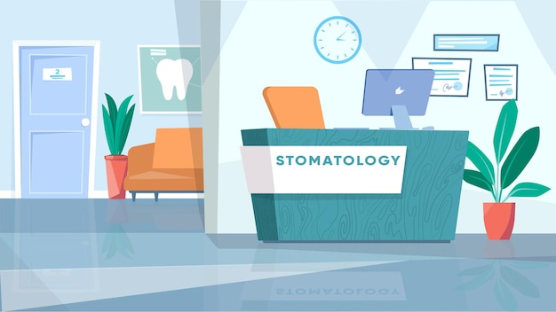 Concetto interno della sala d'attesa di odontoiatria nella hall di design piatto del fumetto con il posto di lavoro della reception con...