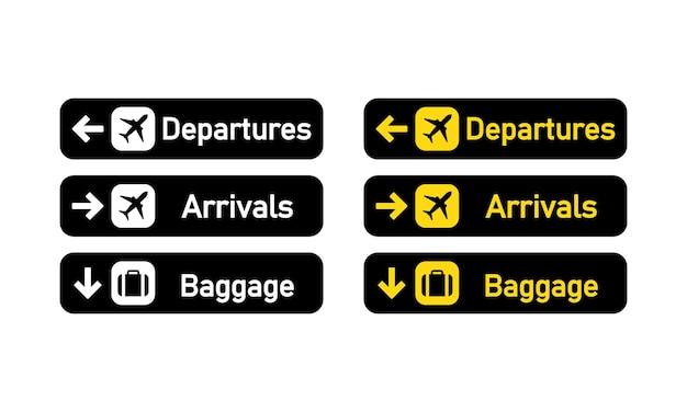 Cartello partenze, arrivi e bagaglio o cartello aeroporto