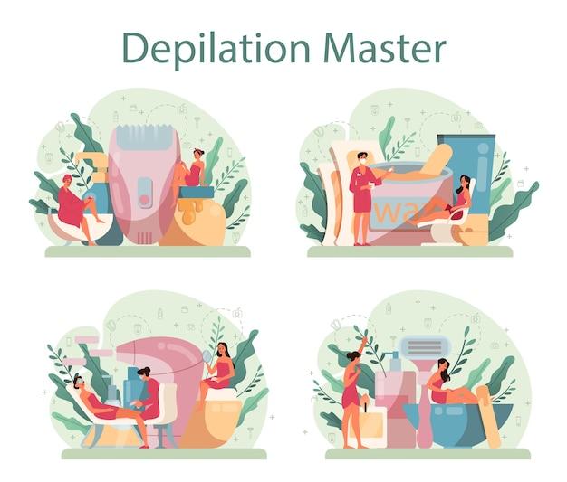 Set di concetti di depilazione ed epilazione. idea di metodi di rimozione dei capelli.
