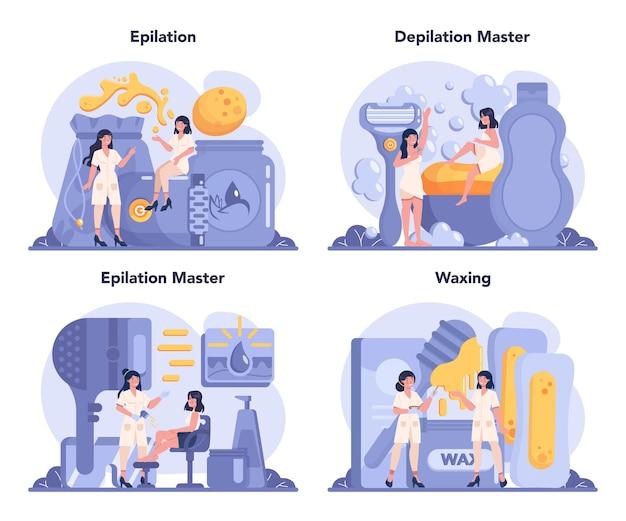 Set di concetti di depilazione ed epilazione