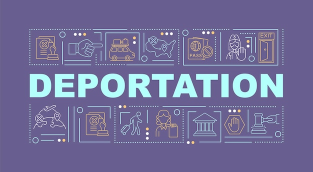 Bandiera di concetti di parola viola di deportazione. rimozione ufficiale dal paese. infografica con icone lineari su sfondo viola. tipografia creativa isolata. illustrazione a colori del contorno vettoriale con testo