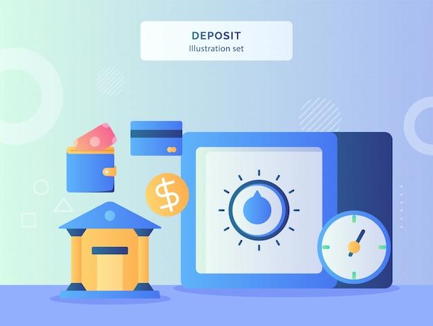 Deposito illustrazione imposta caveau con password sicura nelle vicinanze bankcard orologio banca ufficio portafoglio con uno stile piatto.