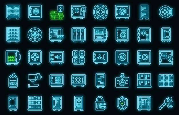 Set di icone di deposito. delineare l'insieme delle icone vettoriali della stanza di deposito colore neon su nero